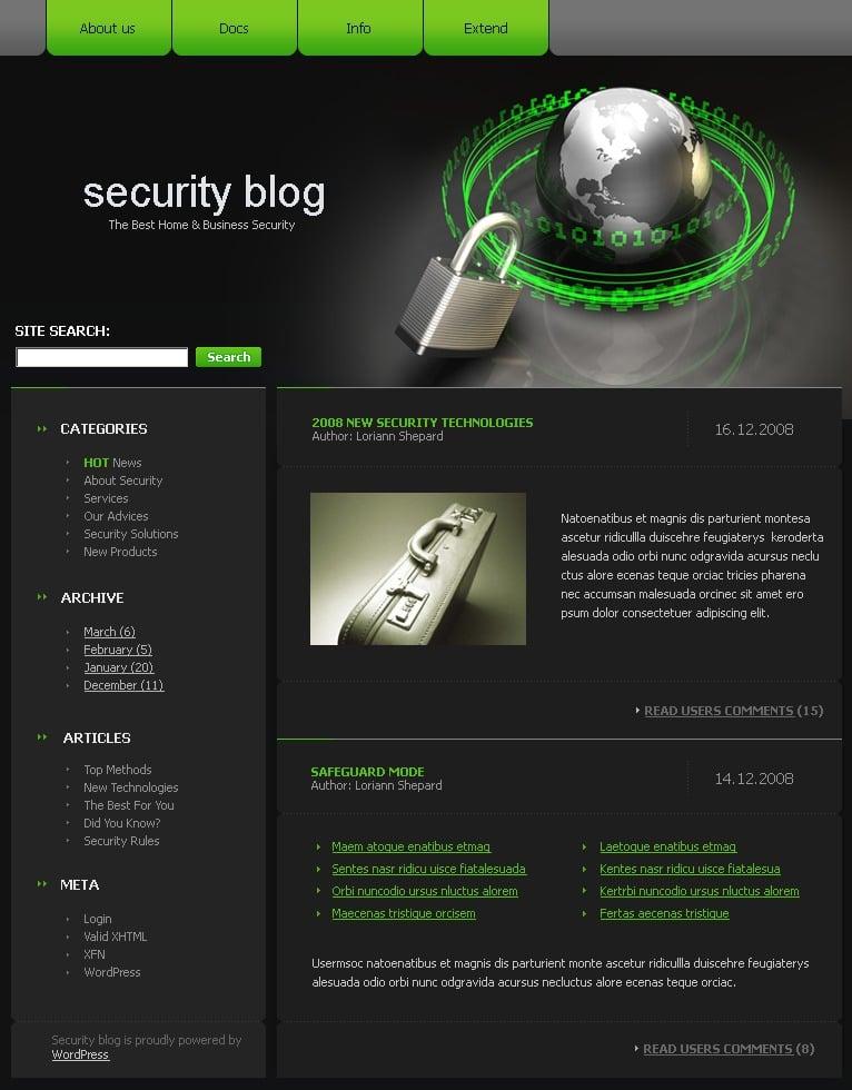 Security WordPress Theme #19065