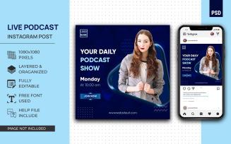 Live Podcast Social Media Post Design Instagram PSD Template