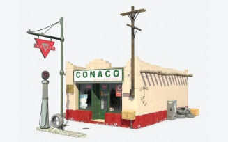 Retro Gas Station Low Poly 3d Model