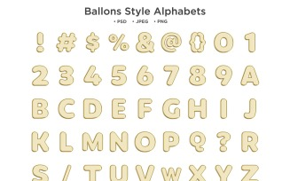 Balloons Style Alphabet Abc Typography