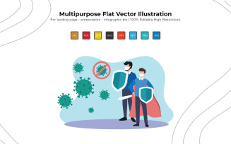Fight Corona Day - Flat Vectors Illustration Design
