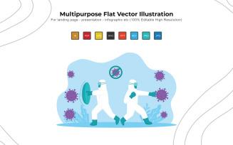 Fight Corona Everyday - Flat Vectors Illustration Design