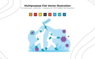 Fight Corona Everytime - Flat Vectors Illustration Design