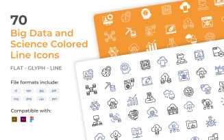 70 Big Data and Science Colored Line Iconset Template
