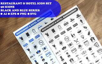 Restaurant And Hotel Management Icon Set template