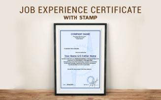 Simple Job Experience Certificate Template Design