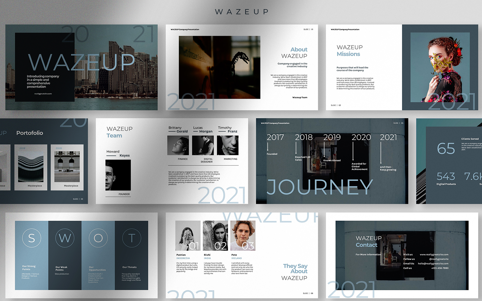Wazeup Company Profile Presentation PowerPoint Template