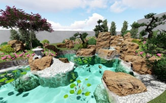 Chinese style beautiful garden model design