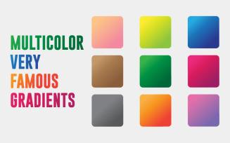 9 Multicolor Very Famous Gradients Vectors