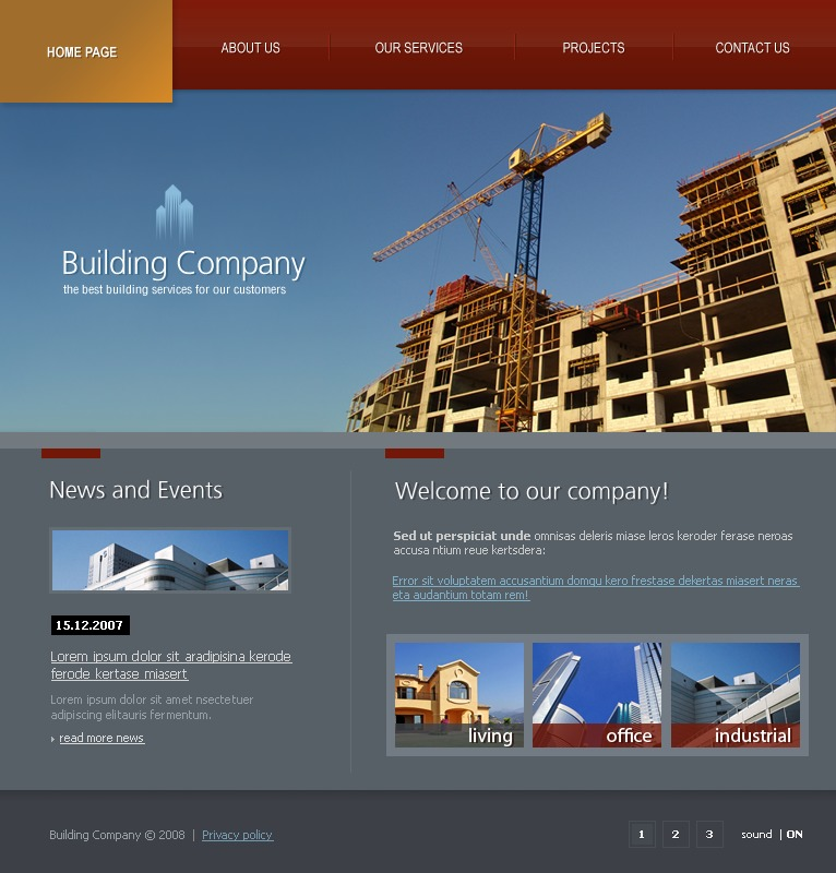 Building company flash website template   best website templates.