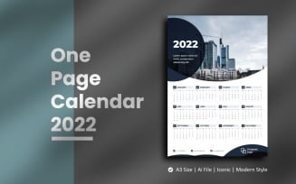 Black Circle One Page Calendar 2022 Planner Template