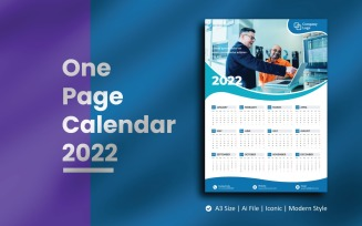 Blue Wave One Page Calendar 2022 Planner Template