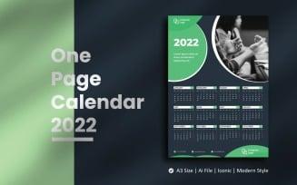 Dark Green One Page Calendar 2022 Planner Template