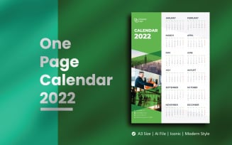 Green One Page Wall Calendar 2022 Planner Template