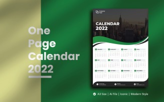 Green Wave One Page Calendar 2022 Planner Template