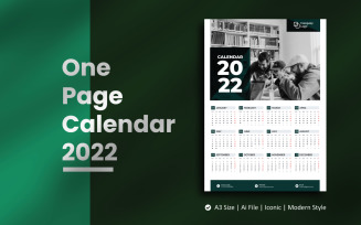 Mono One Page Wall Calendar 2022 Planner Template