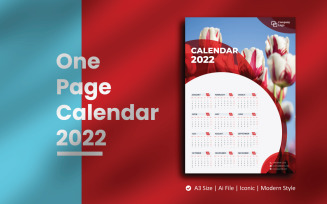 Red Circle One Page Calendar 2022 Planner Template