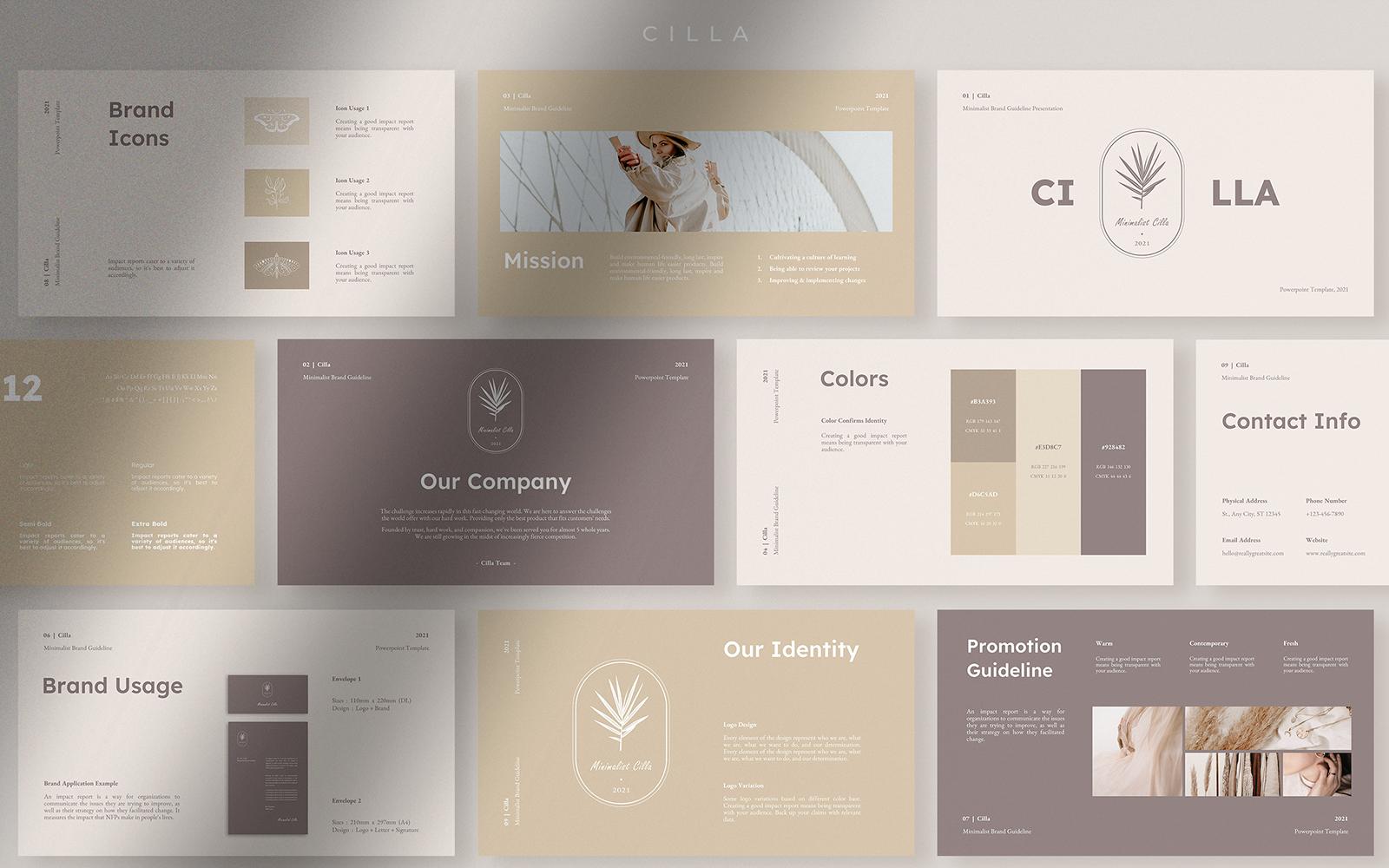 Cilla Minimalist Brand Guideline PowerPoint Template
