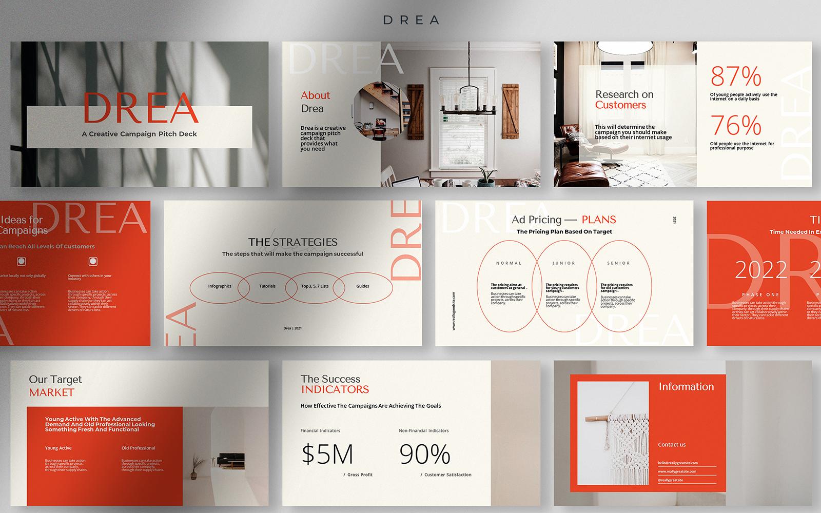 Drea - Orange Squash Creative Campaign Pitch Deck PowerPoint Template