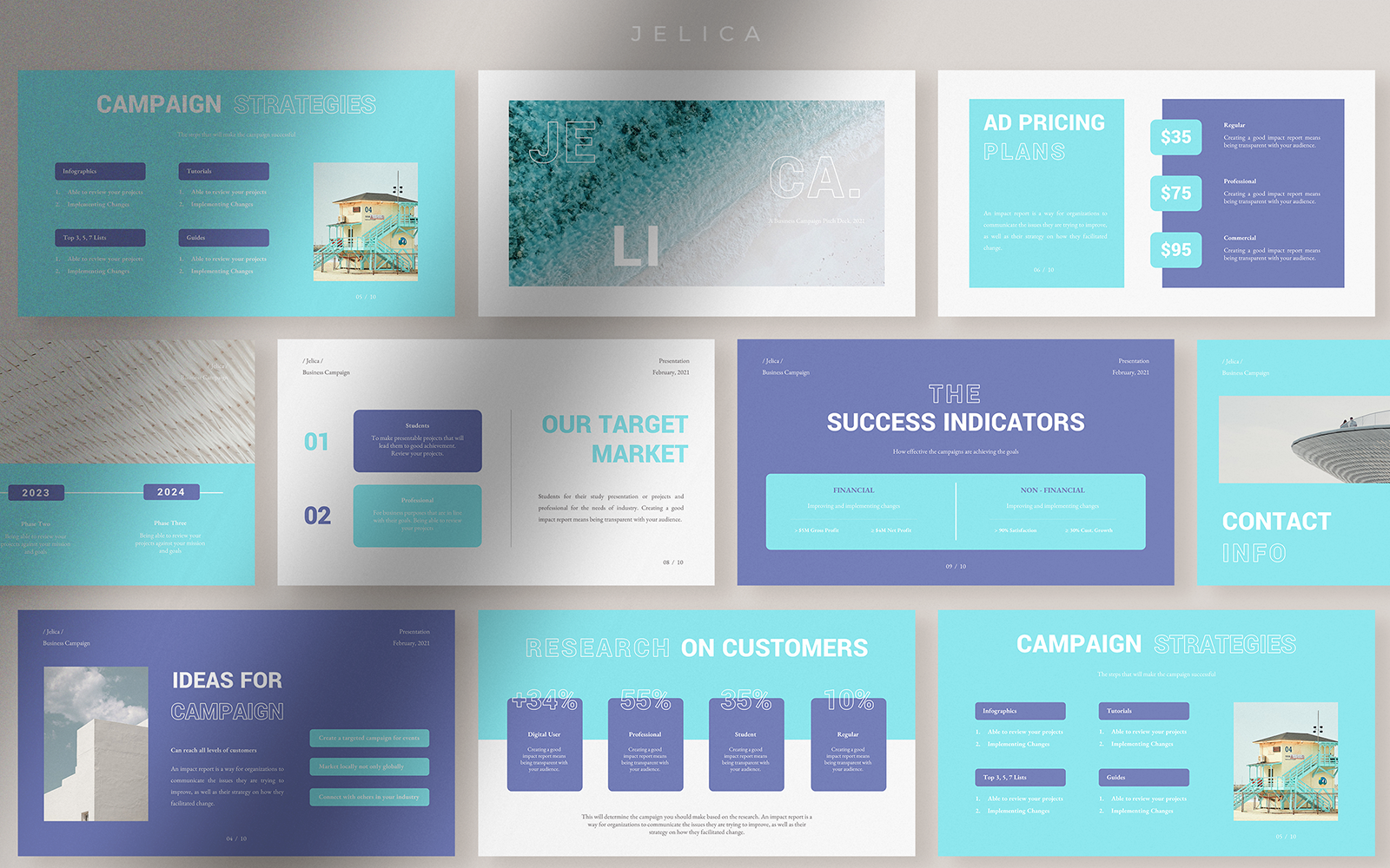 Jelica - Aquatic Modern Business Campaign Presentation PowerPoint Template