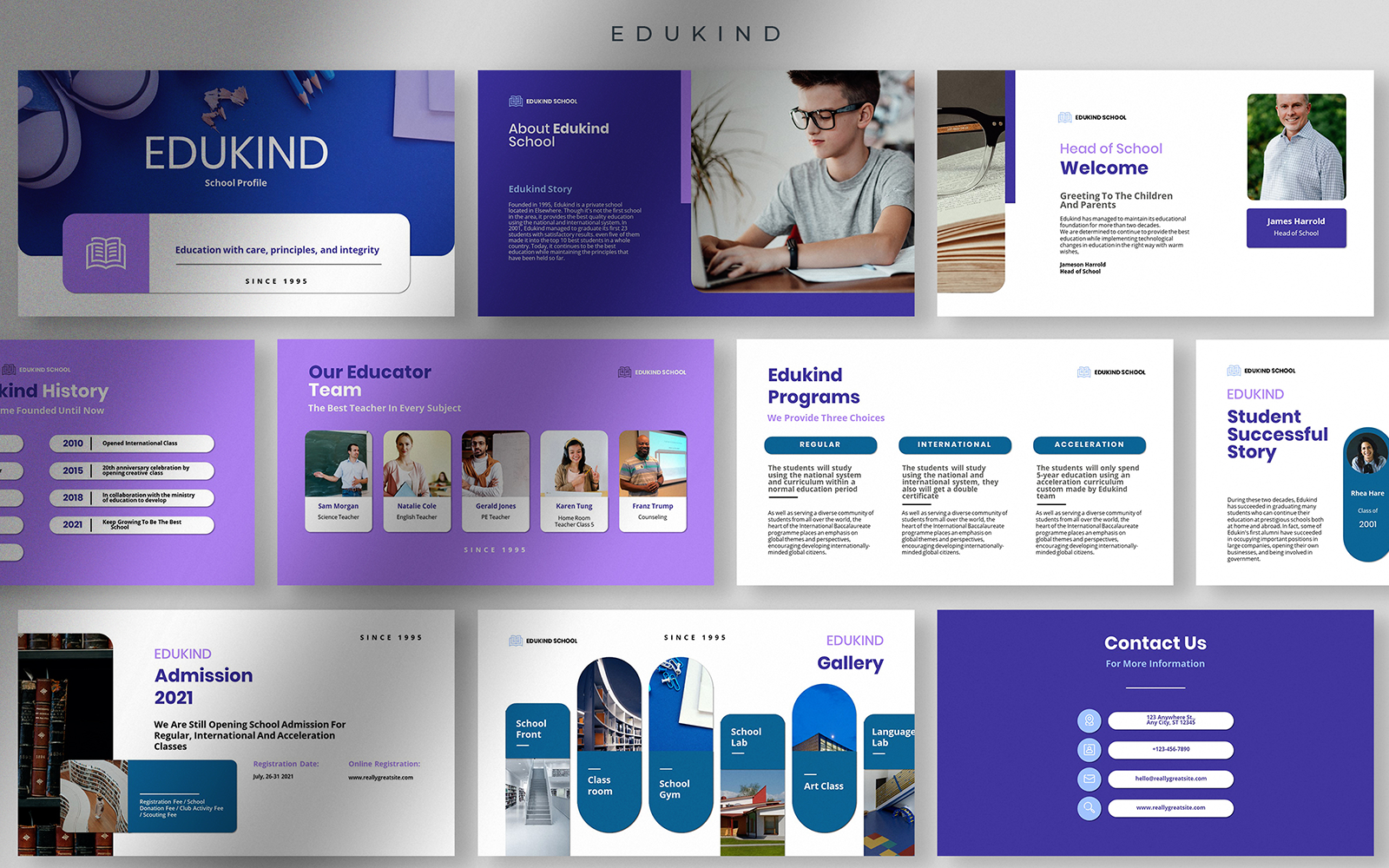 Edukind - Modest and Clean School Profile Presentation PowerPoint Template