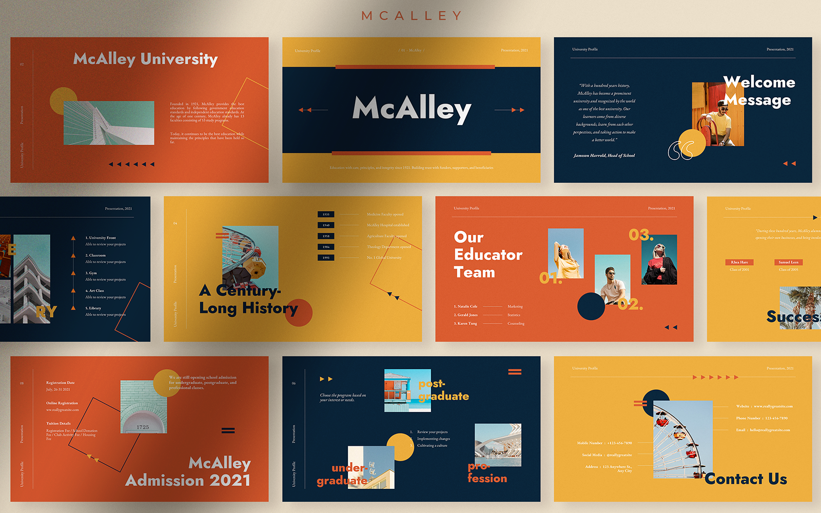 McAlley Creative University Profile PowerPoint Template
