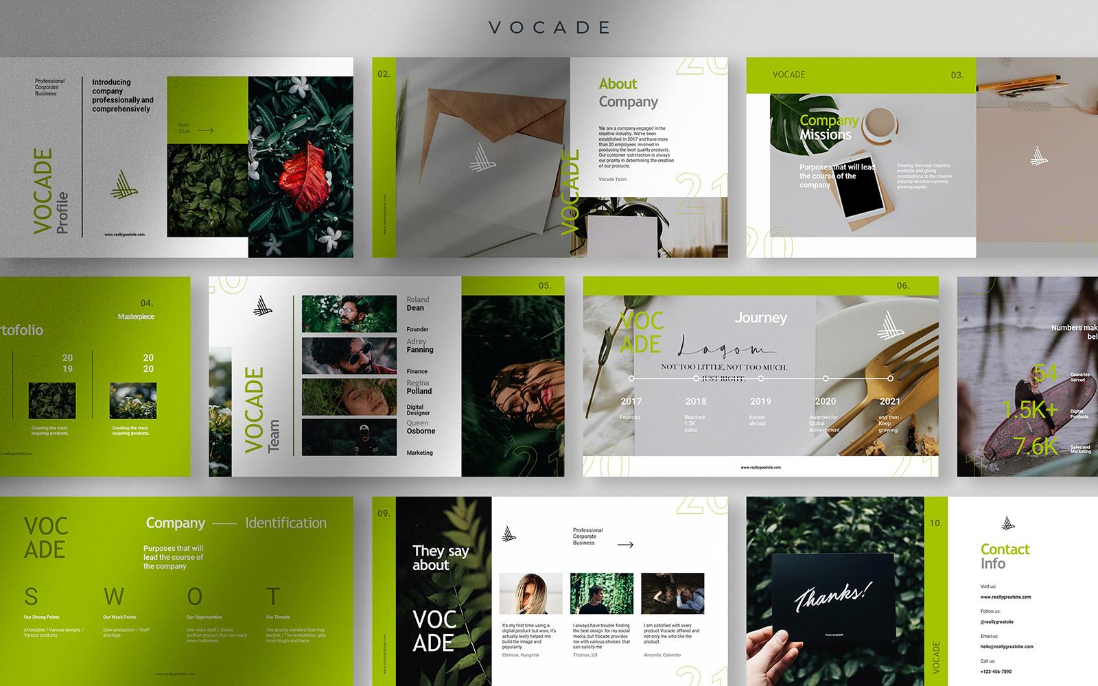 Vocade - Fresh Avocado Professional Corporate Business Presentation
