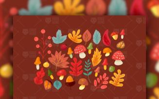 Autumn Leaves And Mushrooms Set Vectors