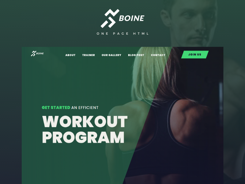 Boine - Onepage Html Multipurpose Body Builder Gym Landing Page Template