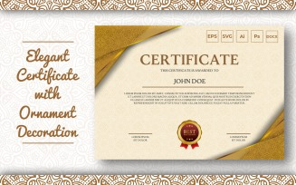 Elegant Certificate Template With Ornament Pattern