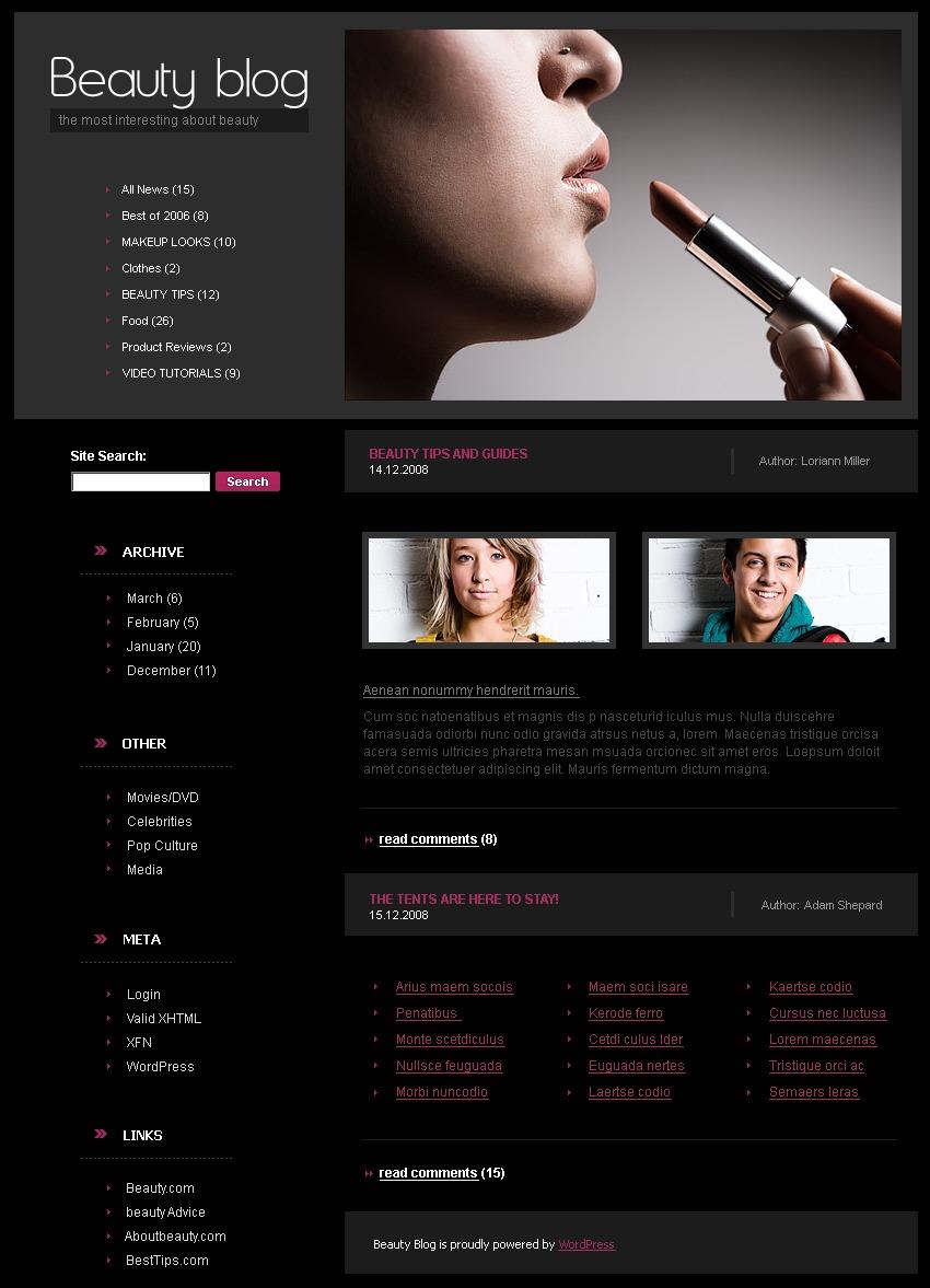 Beauty WordPress Theme - screenshot