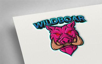 Wild Boar Pink Esport Logo Template