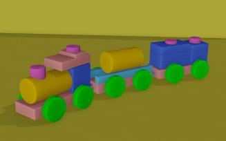 3D Model of LowPoly Toy Train
