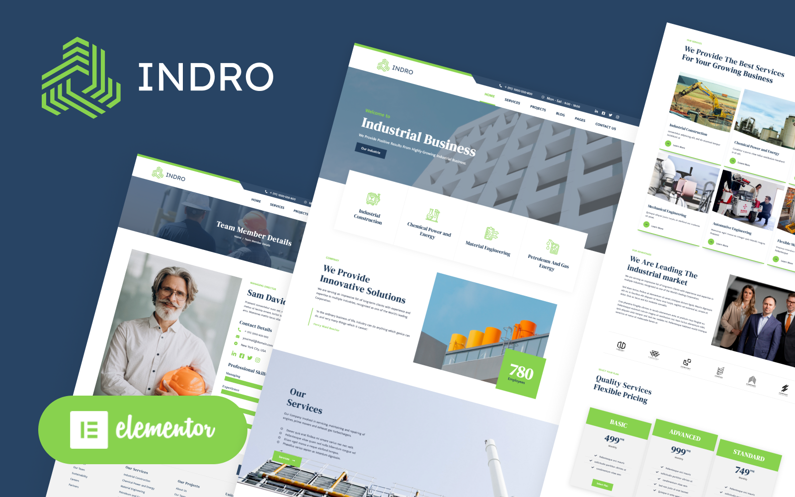 Indro - Industrial Company Factory WordPress Elementor Theme