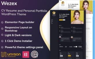 Wezex - CV Resume and Personal Portfolio