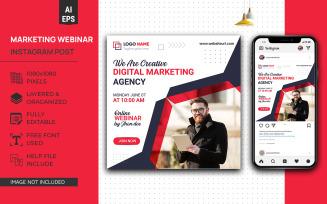 Creative Marketing Webinar Instagram Social Media Post Design EPS Template