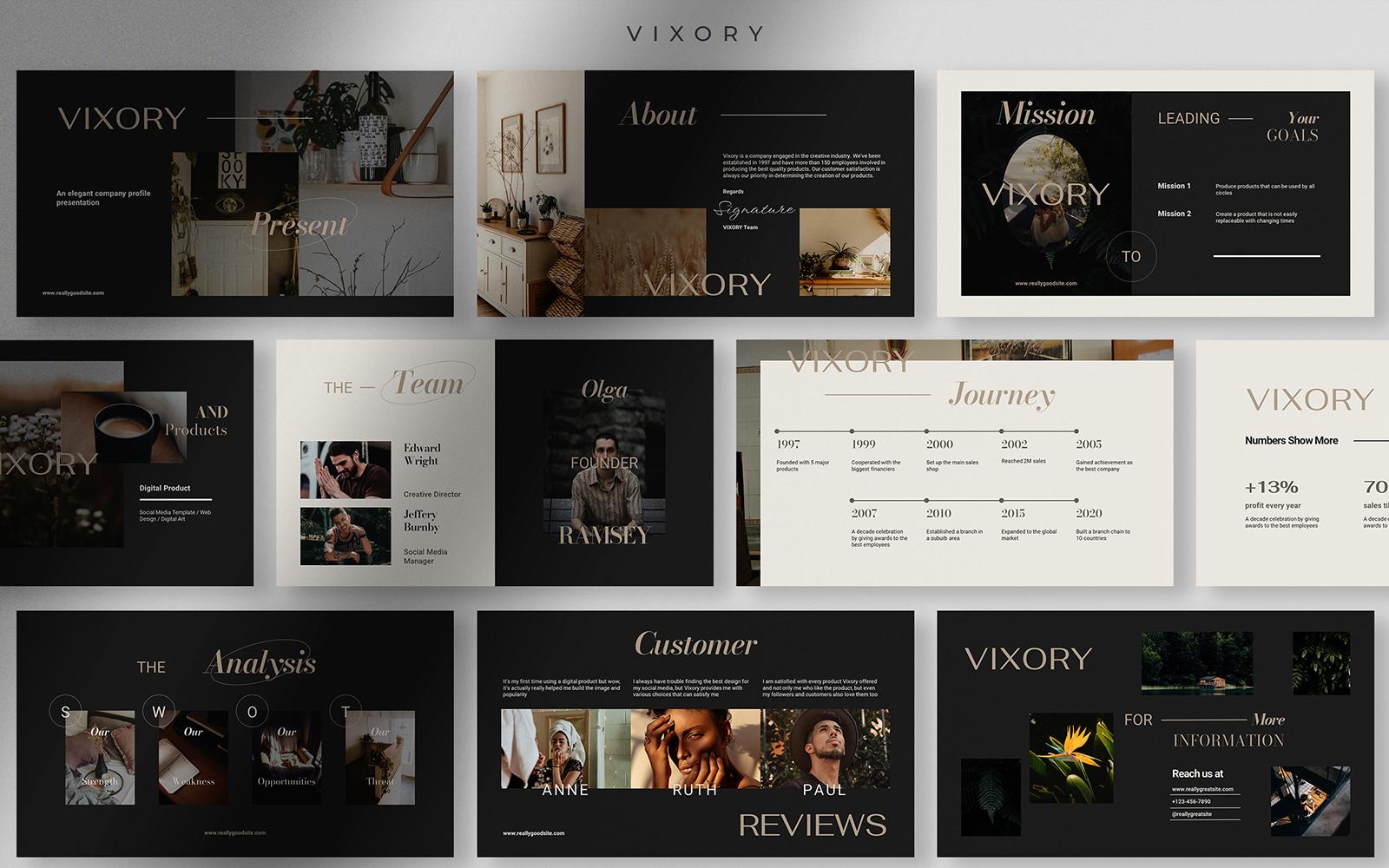 Vixory - Deep Dark Elegant Company Profile Presentation