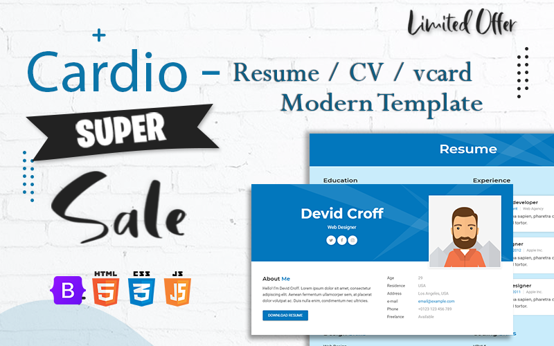 Cardio - Personal Resume / CV / vCard HTML Template