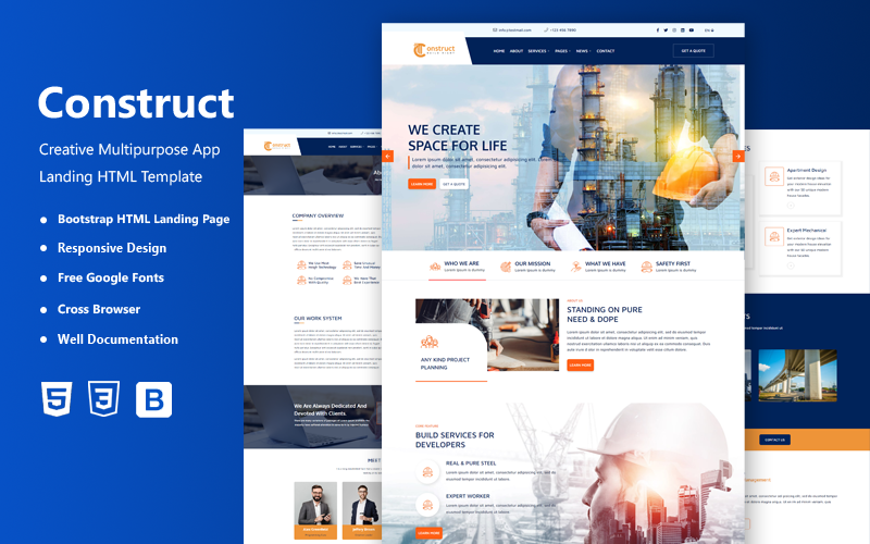 FREE Construct - Construction Company HTML5 Website Template
