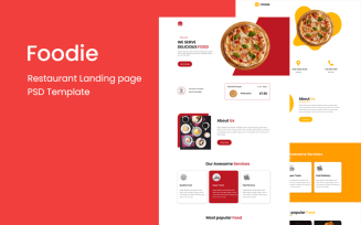 Foodie - Restaurant Landing Page PSD Template