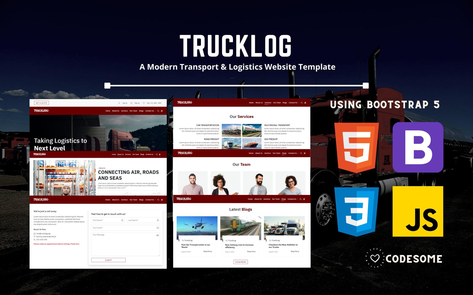 TRUCKLOG - A Modern Transport & Logistics HTML Website Template