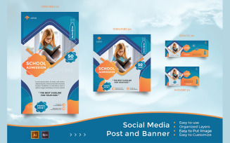 School Education Admission - Social Media Post And Banner Promotion Template