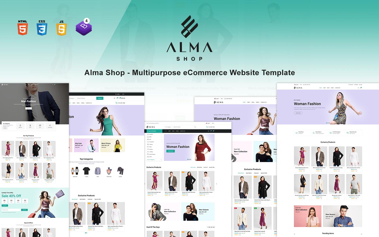 Alma Shop - Multipurpose eCommerce Website Template