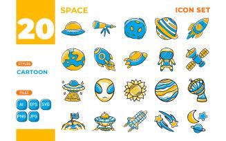 Space Icon Set (Cartoon Style)