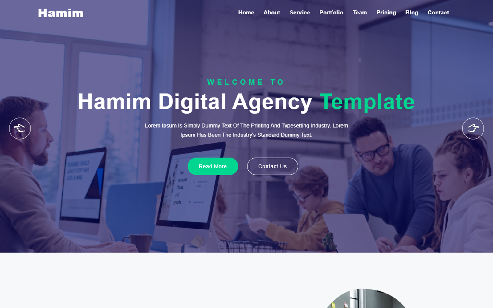 Hamim Digital Agency One Page Landing Page Template