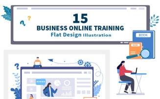 15 Business Online Training Vector Illustration
