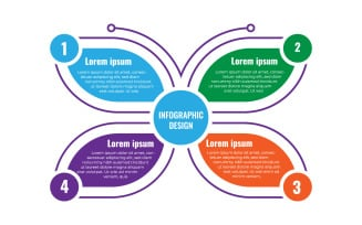 Infographic Design Template With 4 Options And Butterfly Concept