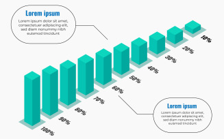 Isometric Or 3D Infographic Design Template With Bar Chart And Parcentage.