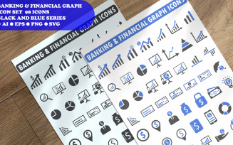 Banking And Financial Graph Icon Set Template