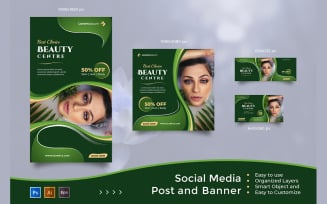 Beauty Center Service - Social Media Post And Banner Templates